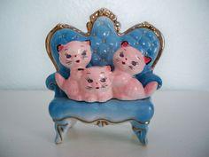 Vintage Figurine lounging kitties by lsvintage on Etsy