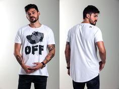 Camiseta ARRISK OFF, modelagem long Tail, 100% algodão, estampa em silk. Ref: A006 / R$99,00  /  Vendas WhatsApp: 99633-3563