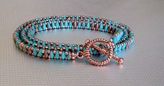 A beautiful wrap bracelet made of turquoise and copper super duo beads. What a fun and trendy piece of jewelry It will go with a nice dress or a t