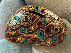 Paisley River / painted stone / orange / Aztec / fiesta / Sandi Pike Foundas / from the sea / Cape Cod