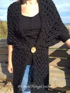 Easy Crochet Sweater Pattern for Women, Simple Cardigan Pattern, Onyx Duster Cardigan, Crochet Women's Fashion, Long Sweater for Women - melissa Crochet Poncho Patterns, Crochet Cardigan Pattern, Sweater Patterns, Crochet Jacket, Long Sweaters For Women, Black Crochet Dress, Crochet Dresses, Bolero, Crochet Woman