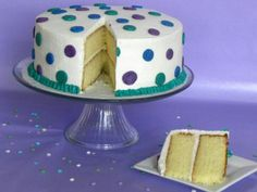 White Cake/Purple & Blue dots