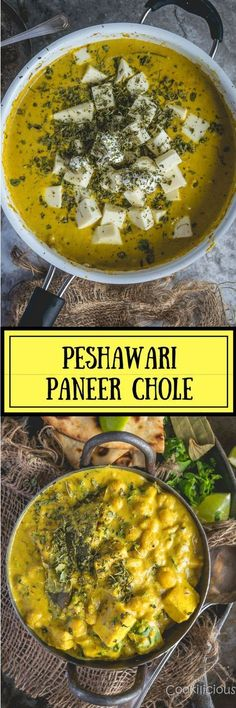 Peshawari Paneer Chole is a delicious recipe made with chickpeas and paneer that blend very well together while still retaining the authentic Peshawari flavors. Peshawar recipes are full of flavor and Paneer Recipes, Veg Recipes, Curry Recipes, Indian Food Recipes, Vegetarian Recipes, Cooking Recipes, Indian Snacks, Indian Appetizers, Dishes Recipes