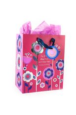 Flower Pattern Gift Bag with Tissue Paper, Medium, Red