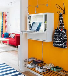 Add vertical built-in cabinets and floating shelves to store and organize items when you have a small space. Our DIY storage ideas will inspire you to take advantage of bare walls to stow and showcase cookware, office supplies, shoes, and more.