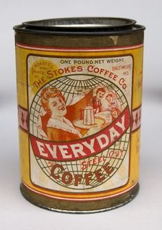 Stokes Coffee Baltimore Maryland Antique Advertising Can Excellent Paper Label