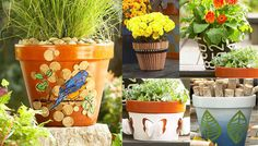Flowerpot Makeovers: http://www.lowes.com/creative-ideas/woodworking-and-crafts/terra-cotta-flowerpot-makeovers/article