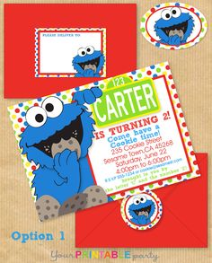 "COOKIE MONSTER Party Invitation 5x7"" with Address Labels, now Includes Envelope Template - DIGITAL files only - Personalized Print yourself. $14.00, via Etsy."