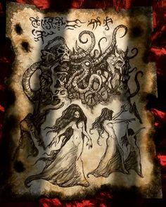 Daughters of the Kraken by MrZarono on DeviantArt Cthulhu, Necronomicon Lovecraft, Charmed Book Of Shadows, Lovecraftian Horror, Book Of The Dead, Satanic Art, Dark Artwork, Magic Art, Kraken
