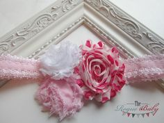 Baby Pink White & Hearts Headband Photo Prop Baby by TheRogueBaby