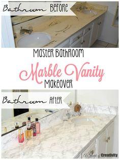 Master Bathroom Marble Vanity Makeover - A Spark of Creativity