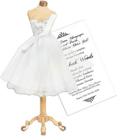 White Dress with Tulle Die-Cut Invitations