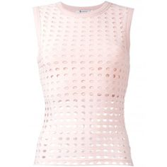 T by Alexander Wang Circular Hole Sleeveless Top (214 AUD) ❤ liked on Polyvore featuring tops, ribbed top, circle top, pink sleeveless top, sleeveless tank tops and sleeveless tops