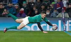 Ireland's Jacob Stockdale dives to score his side's third try in the victory over England at Twickenham in the Six Nations championship rugby union match Irish Rugby, Six Nations, Amazing Photography, Victorious, Third, Ireland, Singer, Running, The Originals