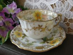 Japanese-China-Yellow-Gold-Floral-Hand-Painted-Tea-Cup-and-Saucer