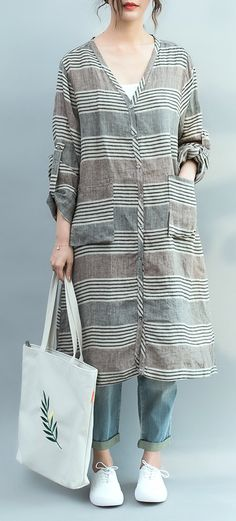 f79872ac5782 Vivid brown green striped Cotton quilting clothes Fine Tunic Tops v neck  Knee spring Dresses Plus