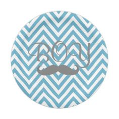 It's a Boy Mustache Theme Baby Shower Paper Plates 7 Inch Paper Plate