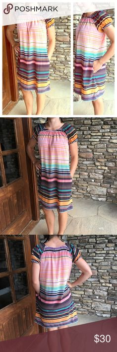 Gap Striped Cap Sleeve Dress NWOT This beautiful and simple cap sleeve striped dress is a colorful addition to your closet! Adorable with some brown sandals. Super comfortable! GAP Dresses Midi