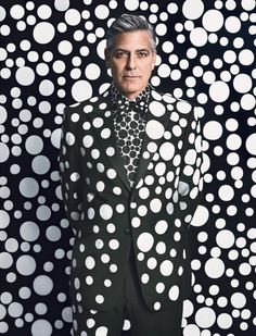 George Clooney by Yayoi Kusama, photographed by Emma Summerton for W magazine, Dec/Jan (click the image for extremely high-res photo. Yayoi Kusama, George Clooney, Emma Summerton, Stoff Design, Kim Joon, W Magazine, Magazine Covers, Foto Art, Design Set