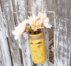 Yellow SHABBY CHIC Rustic Hanging Mason Jars with Flowers Diy Wedding, Wedding Events, Wedding Ideas, Wedding Inspiration, Weddings, Shabby Chic Yellow, Shabby Chic Decor, Hanging Mason Jars, Mason Jar Flowers
