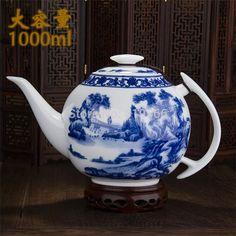 Дешевое Новый 2015 элегантный синий и белый большой керамический чайник 1л китайский дракон фарфор кунг фу чайный сервиз посуда горшок для заварки обслуживание, Купить Качество Чайные и кофейные сервизы непосредственно из китайских фирмах-поставщиках:        Название продукта:        Новый 2015 Буле и белый керамический заварной чайник 1л для китайского кунг-фу чайные с
