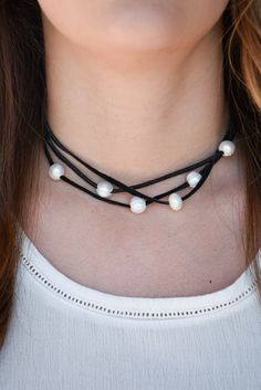 Stetson Leather Pearl Choker (Black)