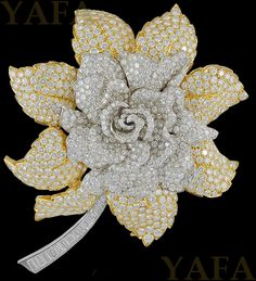DAVID WEBB Two Tone Diamond Flower Brooch