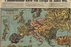Lehmann-Dumont (Karl), Humoristische Karte von Europa im Jahre 1914 [Humorous Map of Europe in 1914]