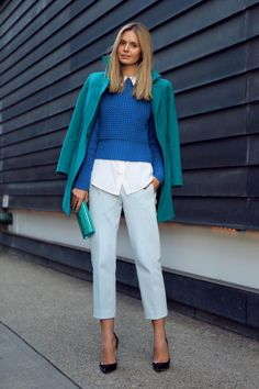 Make your crisp white button-down pop under a color palette of blue and teal layers, a la tuula's Jessica Stein.