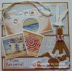 Cards & More By Lies : Strandkiekjes Seaside Theme, Beach Themes, Beach Ideas, Scrapbook Cards, Scrapbooking, Beach Cards, Die Cut Cards, Marianne Design, Birthday Cards