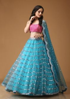 Pearl_designers Book ur dress now Completely stitched Customised in all colours For booking ur dress plz dm or whatsapp… Indian Lehenga, Half Saree Lehenga, Bridal Lehenga Choli, Kids Lehenga, Blue Lehenga, Lehenga Blouse, Wedding Sarees, Designer Bridal Lehenga, Designer Lehnga Choli