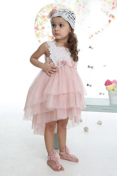 Girls Pink Tulle & Lace Dress with Crochet Hat-Mi Chiamo Christening Pink Tulle, Tulle Lace, Lace Dress, Girls Formal Dresses, Flower Girl Dresses, Wedding Dresses, Kids Clothing Brands, Fashion Cover, Designer Kids Clothes