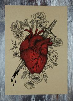 print of a beautiful heart and dagger floral illustration, printed on high quality kraft paper stock with a pop of red colour that enhances the original pen and ink work of the artwork. This is a digital print of my original pen and ink artwork. Illustration Blume, Heart Illustration, Anatomical Heart Drawing, Anatomical Heart Tattoos, Bleeding Heart Tattoo, Art Macabre, Art Drawings Sketches, Gothic Drawings, Heart Drawings