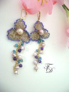 Wire crochet 14k gold earrings,Amethyst,Topaz ,Garnets and Freshwater Pearls earrings,Gemstone earrings-Belladonna. $67.00, via Etsy.