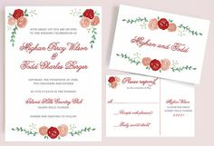 Watercolor Red Rose Wedding Invitation by Leveret Paperie