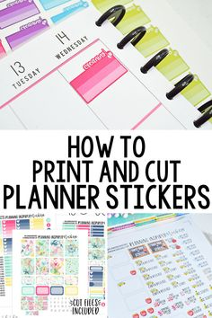 How to print and cut planner stickers with a silhouette machine. Use this tutorial to print and cut printable planner stickers that you find or purchase online. Planner Tips, Free Planner, Planner Pages, Happy Planner, Mom Planner, Passion Planner, Erin Condren Life Planner, Create Your Own Planner, How To Make Planner