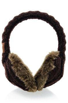 TARA Brown Wool Women Earmuffs