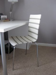 paint a simple chair with stripes (or a bright color) for the office -- i'm totally duplicating this idea!