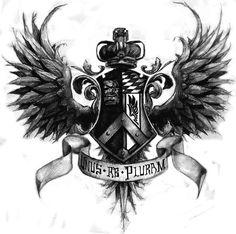 winged-family-crest-tattoo-design.jpg 1,097×1,092 pixels