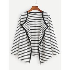 SheIn(sheinside) Contrast Striped Draped Collar Coat ($14) ❤ liked on Polyvore featuring outerwear, coats, short sleeve coat, stripe coat, long sleeve coat, collar coat and striped coat