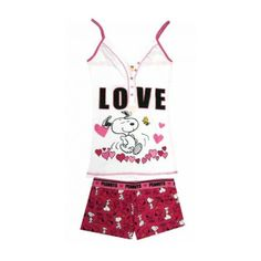 WebUndies.com Peanuts - Snoopy Woodstock Love Fold Top Sleep Short Set ($25) found on Polyvore