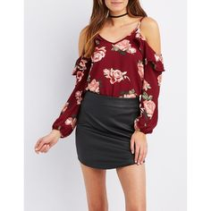 Charlotte Russe Floral Ruffle-Trim Cold Shoulder Top ($22) ❤ liked on Polyvore featuring tops, burgundy cmb, flounce tops, ruffle top, chiffon tops, open shoulder top and cutout tops
