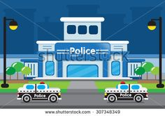VECTOR : POLICE STATION - stock vector