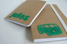 Inspiration: iron flock foil (velours strijkfolie) on kraft notebooks. Choose a neon colour. From hilde@home.