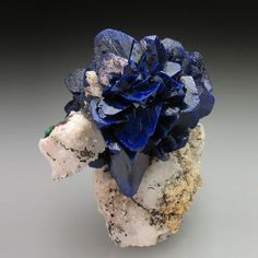 'rose' formed of Azurite blades, on matrix! The Azurite is bright to deep blue and very lustrous, and well crystallised. Azurite roses from Morocco are normally found as floater specimens, and it is rare to see a rose of this quality on matrix. Minerals And Gemstones, Rocks And Minerals, Dame Nature, Beautiful Rocks, Mineral Stone, Paperclay, Rocks And Gems, Stones And Crystals, Gem Stones