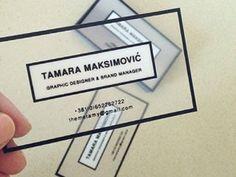 Creative business cards using clear plastic and bold graphic design. Transparent Business Cards, Unique Business Cards, Creative Business, Business Card Design Inspiration, Business Design, Corporate Design, Branding Design, Logo Design, Impression Etiquette