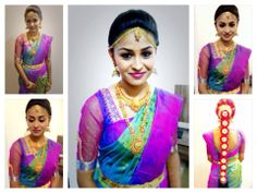 Traditional South Indian bride wearing bridal hair, saree and jewellery. Muhurat look. Makeup by Swank Studio. Find us at https://www.facebook.com/SwankStudioBangalore