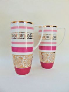 Whittard After Dark Tall Latte Mug Coffee Cup Pair 2006 Gold Detail Fine China