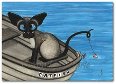 Siamese Cat Fishing - Prints or ACEOs by Bihrle ck404