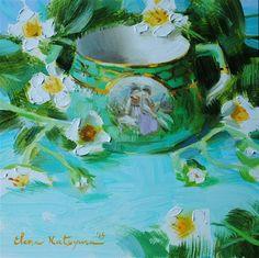 "Daily Paintworks - ""Strawberry Blossoms"" - Original Fine Art for Sale - © Elena Katsyura Tea Cup Art, Fine Art Gallery, Painting Inspiration, Art For Sale, Still Life, Artist, Artwork, Flowers, Flower Paintings"